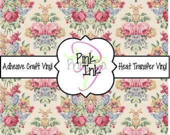 Vintage Floral Printed Vinyl // Patterned Adhesive Craft Vinyl and Heat Transfer Vinyl in pattern 1094