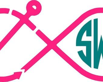 Monogram Decal, Monogram Infinity Anchor Car Decal