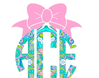 Monogram with Bow Iron on decal