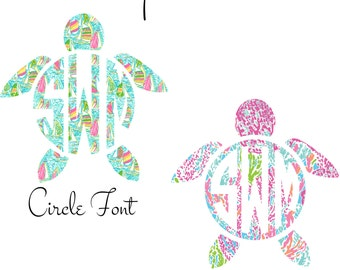 Monogram Car Decal, Car Monogram, Monogram Turtle Decal