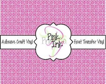 Hot Pink Patterned Vinyl, Printed Adhesive Vinyl and Heat Transfer Vinyl in pattern 1095