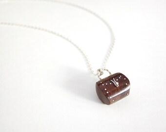 Handmade sandalwood little handbag pendant necklace with 925 silver chain