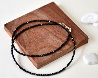 Handmade Sterling Silver with Black Spinel Beads Necklace, Made to Order