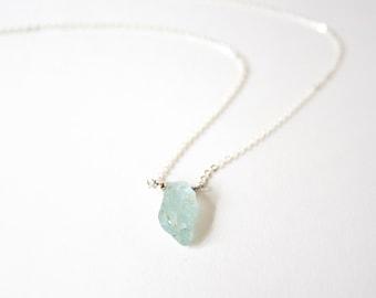Handmade Raw Aquamarine beads with 925 silver Necklace