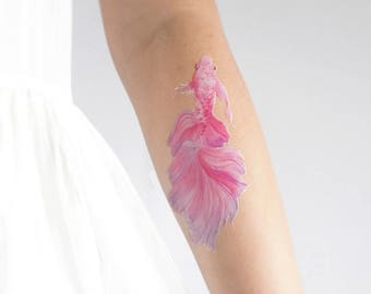 Water Color Fighting fish Pattern Temporary Tattoo