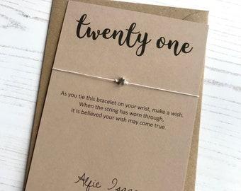 Wish Bracelet - Scroll Font Birthday Age twenty one 21 keepsake card with envelope