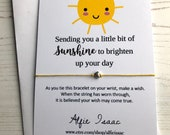 Wish Bracelet - Sending you a little bit of sunshine, to brighten up your day - sentiment card with envelope