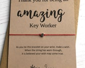 Wish Bracelet - Thank you for being an amazing Key Worker - sentiment card with envelope