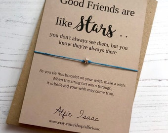 "Wish Bracelet - ""Good Friends are like stars ... "" friendship sentiment card with envelope"