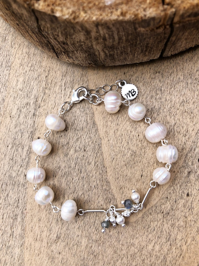 Bridal Jewelry Freshwater Pearl and Labradorite Silver Bracelet Something Blue Great Wedding Gift Timeless Piece