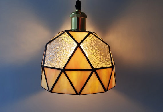 Stained Glass Geometric Ceiling Lamp Bedroom Light Glass Etsy