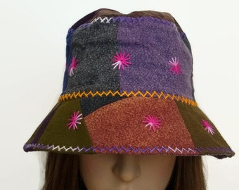e8a1f59b8ce0b4 Hippie Sun Hat Girl women Bucket Travel Holiday Light Hat Patchwork  Embroidered Cotton Fabric Multi Color Summer Spring Hat ST02