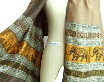 Elephant Scarf Shawl Women Scarf Vegan Pashmina Style Fabric Long Summer Spring Scarf Wrap gift For Her Mothers Mom Beige Cream ep01 - Beige