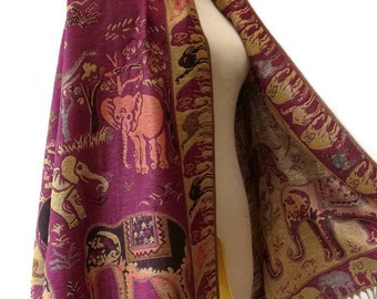 Elephant Scarf Shawl Golden Glitter Pashmina Style Vegan Fabric Wrap Shawl Women Scarf gift For Her Mothers Mom seg07 Dark Pink