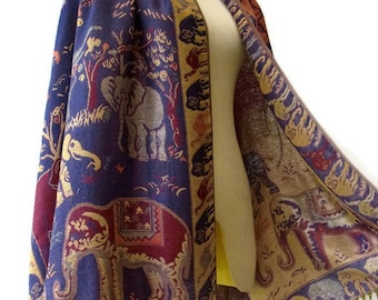 Elephant Scarf Shawl Golden Glitter Pashmina Style Vegan Fabric Wrap Shawl Women Scarf gift For Her Mothers Mom seg05 Dark Blue Purple