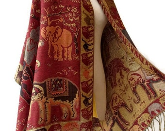 Elephant Scarf Shawl Golden Glitter Pashmina Style Vegan Fabric Wrap Shawl Women Scarf gift For Her Mothers Mom seg08 Dark Red