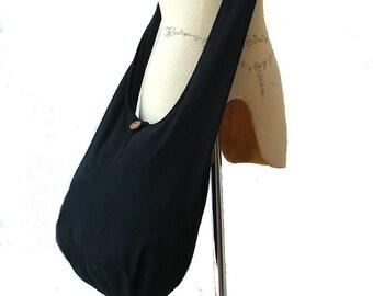 c274932043f Black Crossbody Bag Women Girls Hobo Boho Hippie Vegan Sling Cross Body  Purse Cotton Zipper Plain Solid Black - Now with Longer Strap
