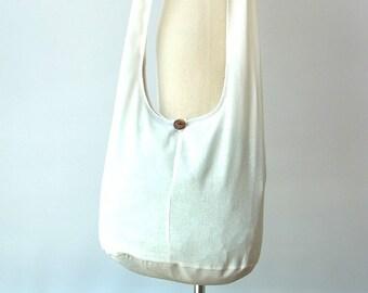 d14c5ca7890b White Hobo Crossbody Bag Women Girls Boho Hippie Vegan Sling Cross Body  Purse Cotton Zipper Plain Solid White - Now with Longer Strap