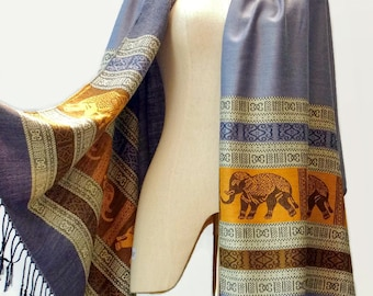 Elephant Scarf Shawl Women Vegan Pashmina Style Long Fabric Wrap Scarf Spring Summer gift for Her Mothers day Mom EP Gray Orange