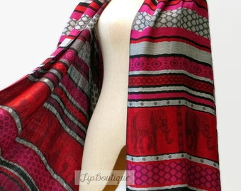 Pashmina Style Scarf Shawl Elephant Vegan Women Long Wrap Scarf Spring Summer gift For Her Mothers day ED Pink Red