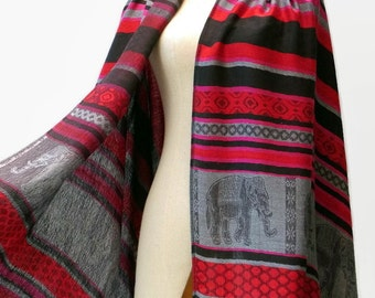 Pashmina Style Scarf Shawl Elephant Vegan Women Long Wrap Scarf Spring Summer gift For Her Mothers day ED Red Gray