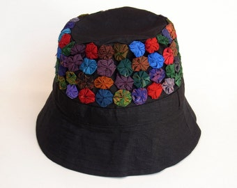 3338ee7448f28 Womens Hat Bucket Hat Travel Holiday Hat Patchwork Embroidered Silk Fabric  Hat Multi Color Summer Spring Hat Black Sk1