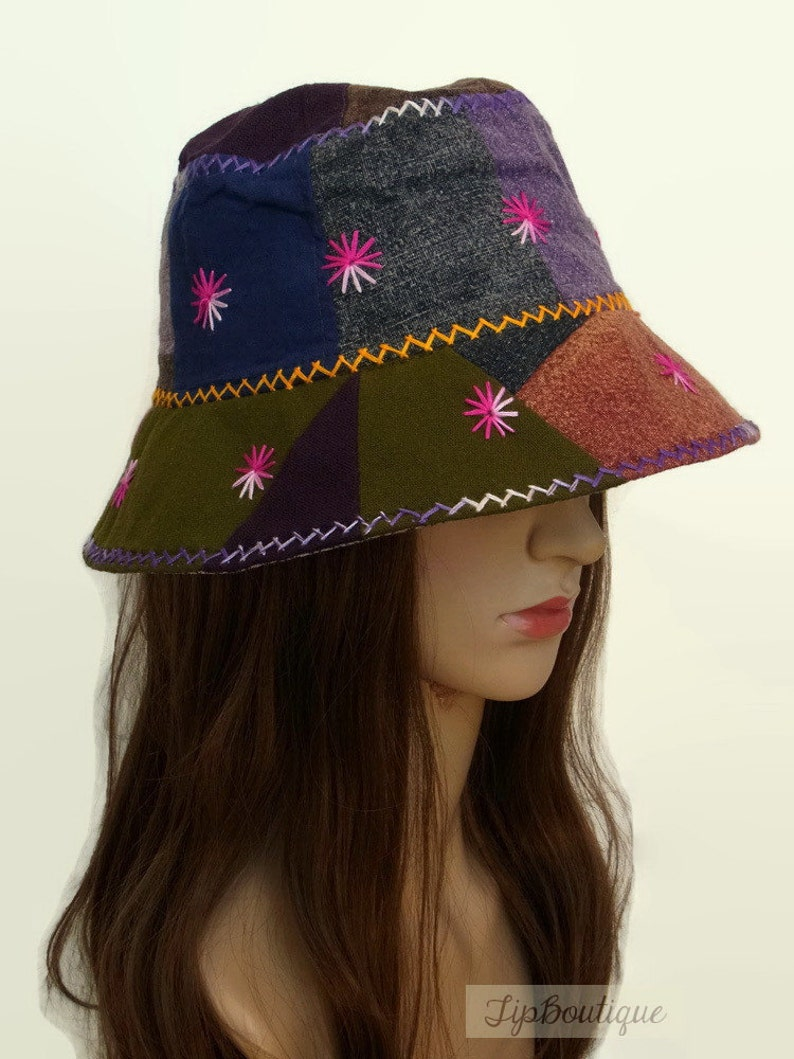 Hippie Hats,  70s Hats Hippie Sun Hat Girl women Bucket Travel Holiday Light Hat Patchwork Embroidered Cotton Fabric Multi Color Summer Spring Hat ST02 $16.99 AT vintagedancer.com