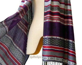Pashmina Style Scarf Shawl Elephant Vegan Women Long Wrap Scarf Spring Summer gift For Her Mothers day ED Gray Purple