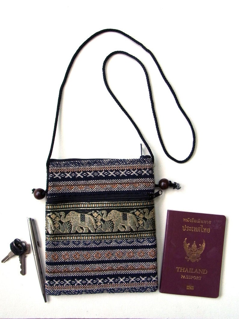 Small Mini Travel Bag Passport Money Cell Phone Neck Pouch Sling Cross body Zipper 2 Compartments Elephant Ethnic Cotton P18 Brown