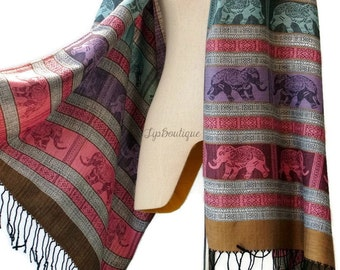 Pashmina Style Scarf Shawl Elephant Vegan Women Long Wrap Scarf Spring Summer gift For Her Mothers day EL Pink Gray Purple