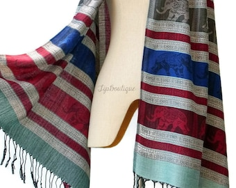 Pashmina Style Scarf Shawl Elephant Vegan Women Long Wrap Scarf Spring Summer gift For Her Mothers day EL Red Blue Gray