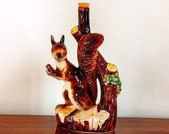 Vintage Ceramic Squirrel Garnier Liqueur Bottle Decanter Italian Majolica Faïence K.L.E.M