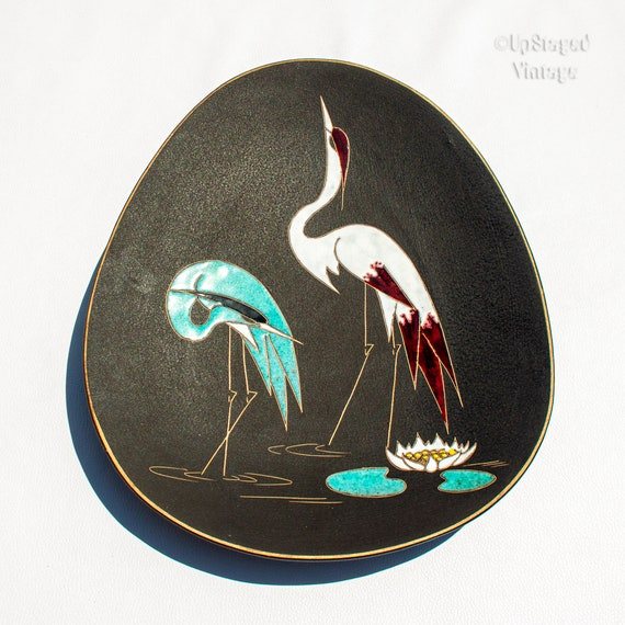 Vintage 1950s Stork Design RUSCHA Art Pottery Engobe Wall Plate Hand Made and Signed West German Pottery 7391
