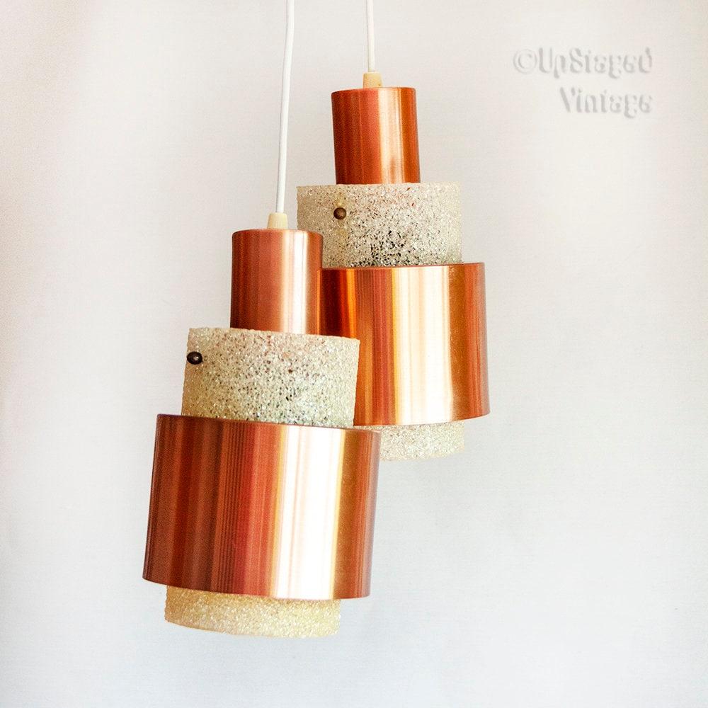 Vintage pair of mid century 1960s 70s scandinavian copper and crystalline perspex resin light fixtures