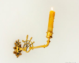 Antique French Brass Wall Mounted Chamberstick Candle Holder Candelabra Sconce