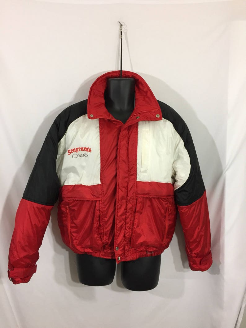 Puff Jacket Color Block Seagrams Coolers Red White Black Size L