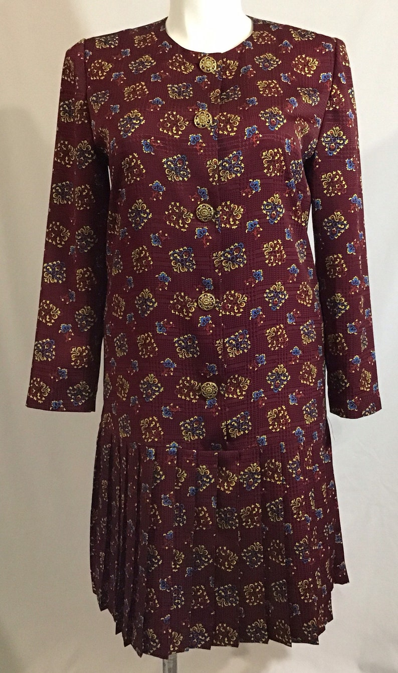 Vintage Leslie Fay Petite Dress Chic Drop Waist w Pleated Skirt Wine Red Embossed w Spade Motif Size 14P