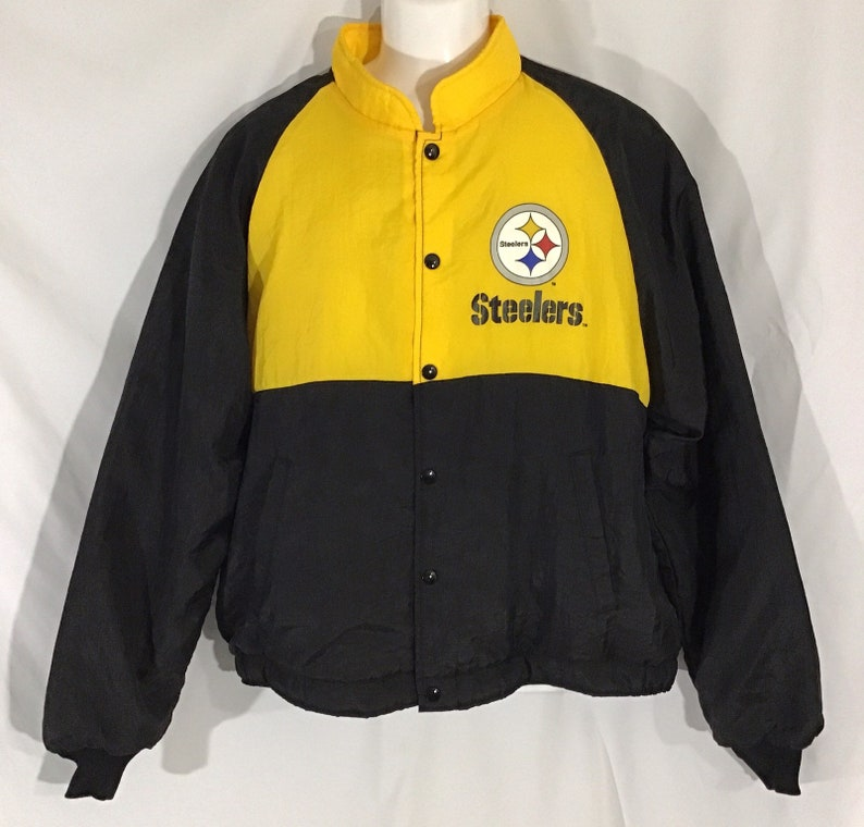 official photos 6f908 7de0d Vintage Pittsburgh Steelers NFL Jacket Puffer 80's Snap Up by Swingster  Made in USA Black and Yellow Size L