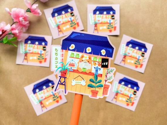 Corgi Cafe Paris Stamp Vinyl Sticker