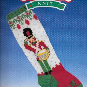 Hand Knit /& Personalized Vintage St 100/% Pure Wool Nick with Reindeer Christmas Stocking