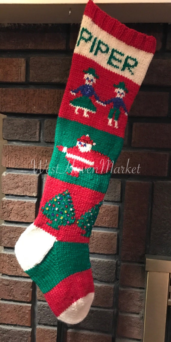 Vintage Personalized Hand Knit 1945 Christmas Stocking 100% | Etsy