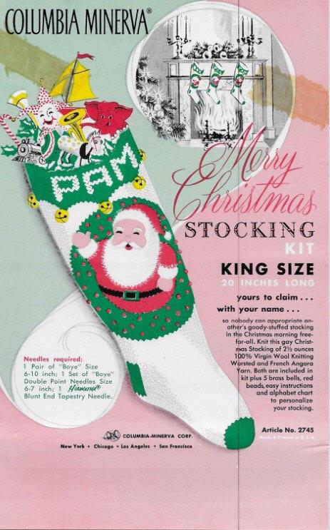 Pdf For Vintage Santa Merry Christmas Stocking Columbia Etsy