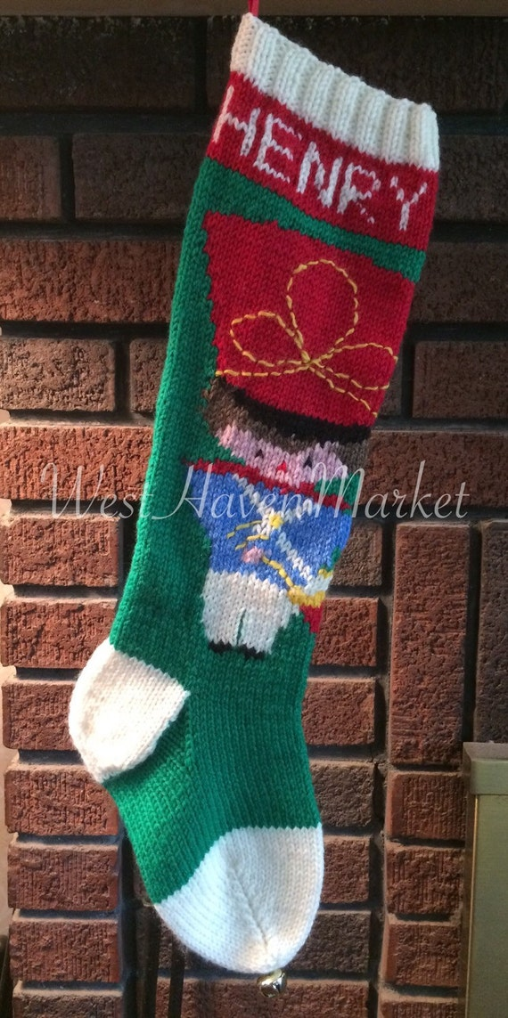 Christmas Stocking Drummer Boy Wool Christmas Stocking with Optional Personalization