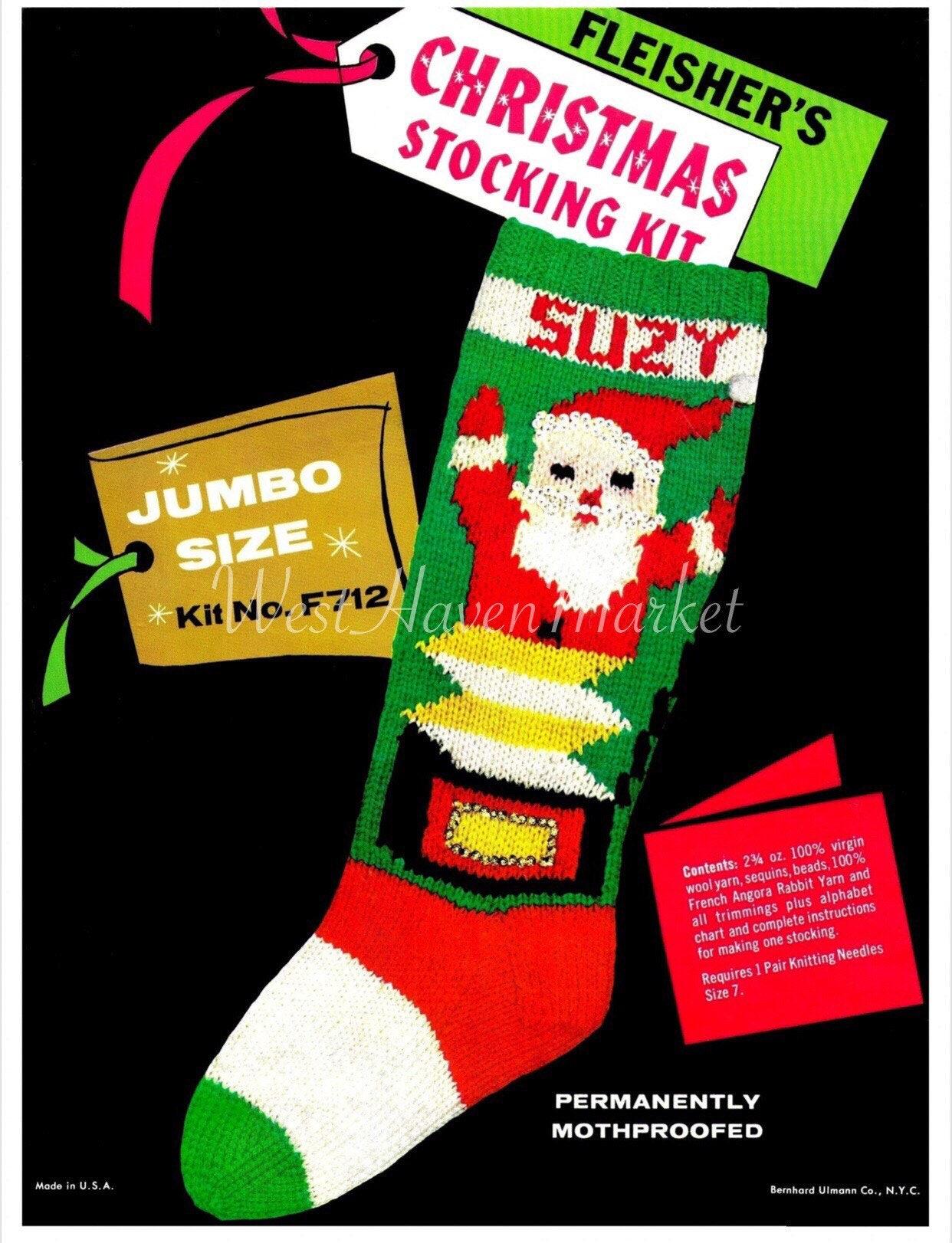 PDF for Vintage Santa Jack-in-the-Box Christmas Stocking | Etsy