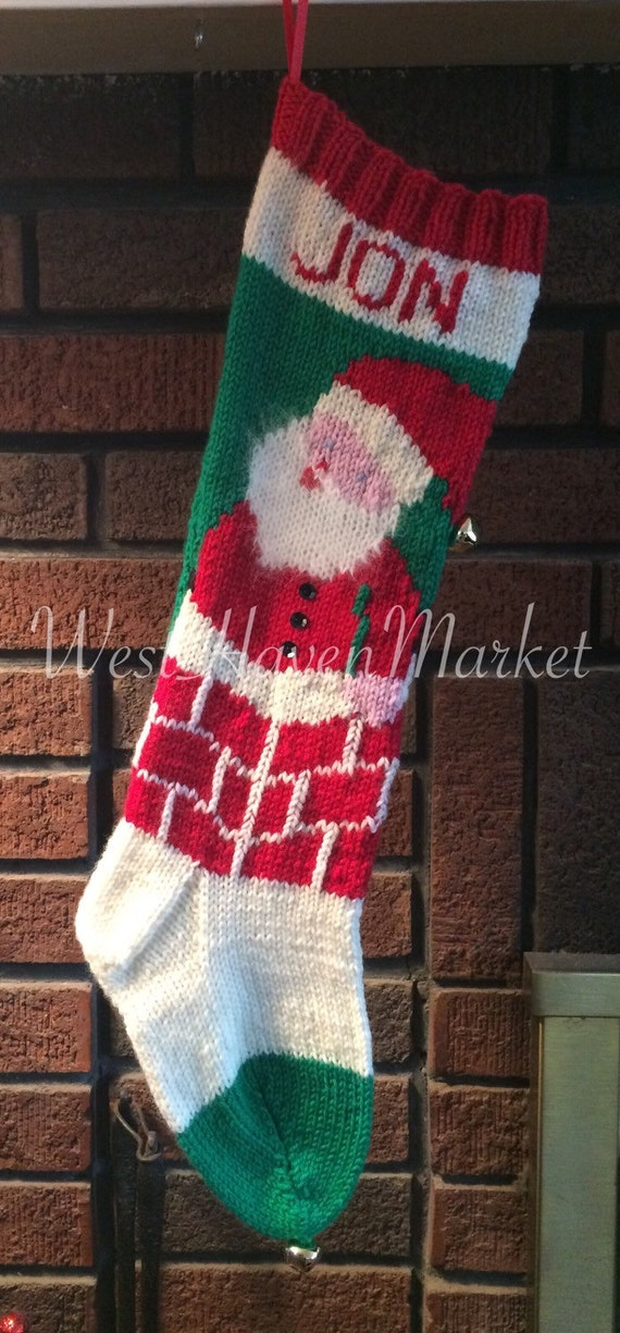 Kit for Vintage Personalized Hand Knit Santa in Chimney | Etsy