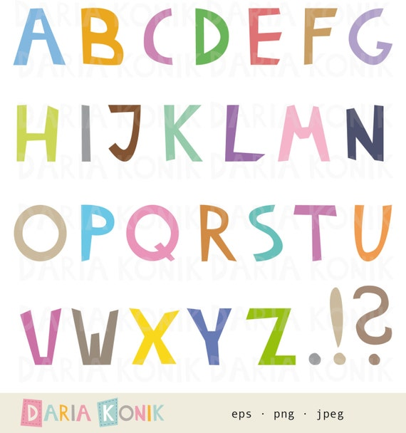 Alphabet Clip Art Set-A-Z uppercase letters full stop | Etsy