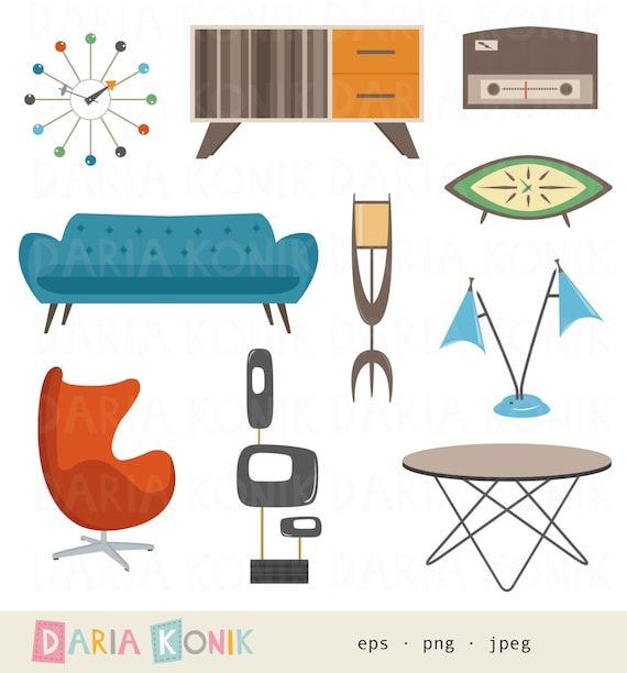 Retro Furniture Clipart Set Midcentury Modern Design Atomic | Etsy