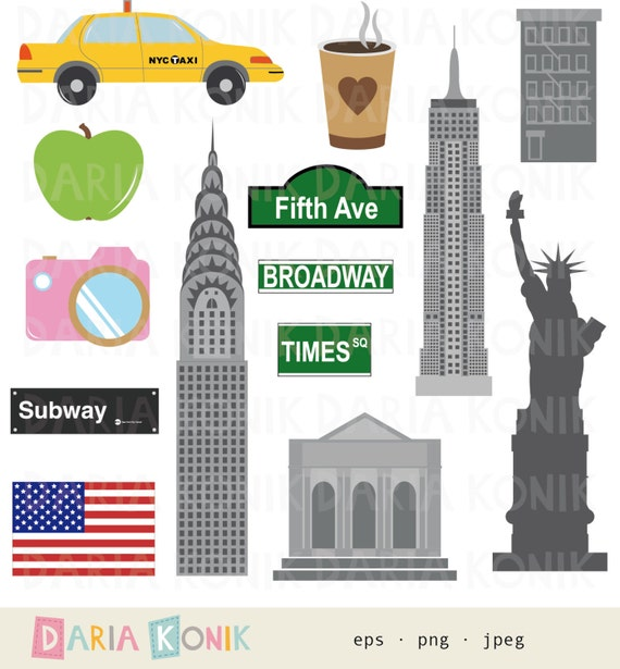 New York Clip Art Set City Clipart America Usa Travel Clipart Chrysler Building Empire State Building Eps Png Jpeg Instant Download