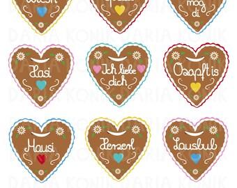 Gingerbread Heart Clipart Set-Oktoberfest clipart, 9 different hearts, eps, png, jpeg, instant download