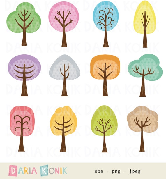 Trees Clip Art Set Trees Colorful Cute Tree Clipart Etsy